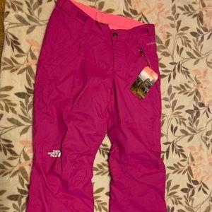 Fuchsia snow pants with gray warm pants